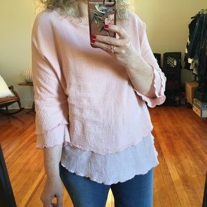 Cotton Collection Gauze Pink Layered Top Batwing